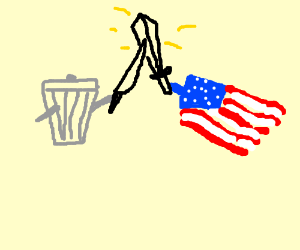 Trash Can and US Flag Fighting with Swords