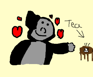 A loving gorilla shares a cup of tea.