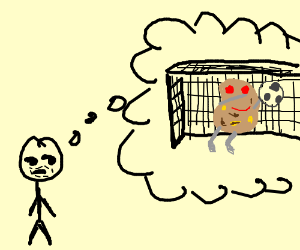 Man thinking about potato goalkeeper