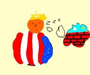 OBESE TRUMP SLEEPING, WEARING AMERICAN COLORS