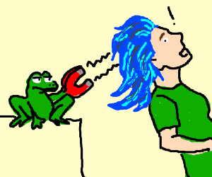 a frog magnets bluehaired girl