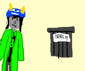 A cat is mad at a trash can