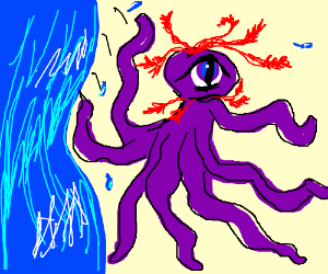 tentacled monster jumps from vertical sea