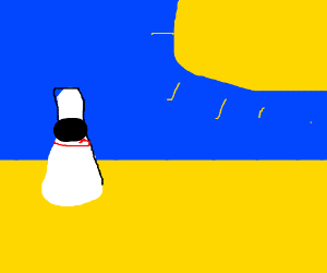 a bowling pin in the scorching desert
