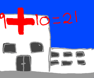 9+10=21 meme with a hospital cross saying it.