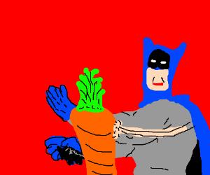 disgusted batman slaps a carrot