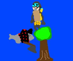 Fish is lumberjack, man is discomforted