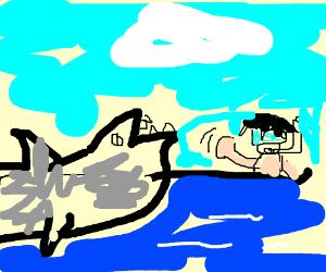 Scuba Diving man waves to lumberjack shark