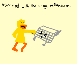 duck giving a sock to a shopping cart