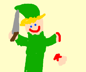 Link (LoZ) chopped off his hand but he's glad.