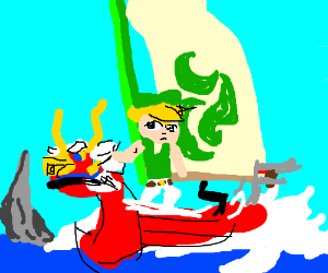 Dryad sailing in a boat