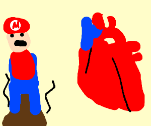 Mario standing in poop next to a human heart