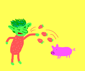 strawberry goblin throws strawberries at a pig