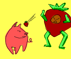 Man dressed as strawberry throws one at a pig
