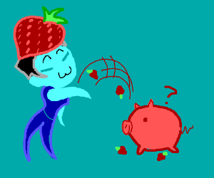 asian strawberry man throws strawberry at pig