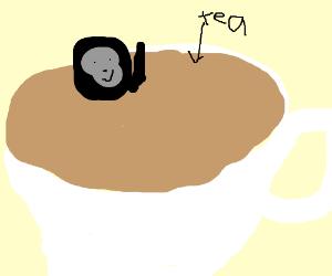 A gorila loves the tea