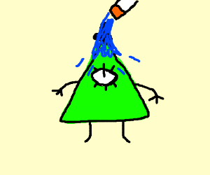 Green Bill Cipher gets watered by cigarette
