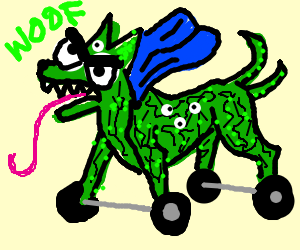 Mutant-green-dog with wheels and blue cloth