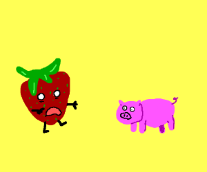 Strawberry zombie attacks piglet