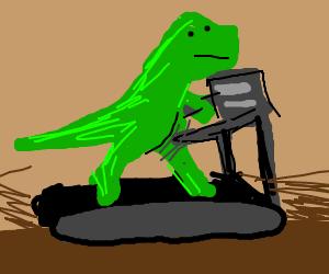 T-Rex on a treadmill