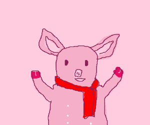 Piglet with a scarf.