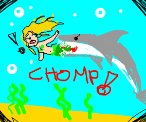 Mermaid that gets bit by a shark