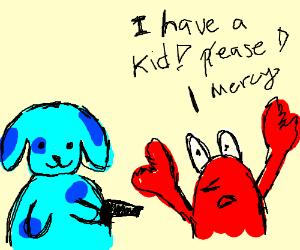 blue dog killing a crab