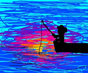Man fishing at sunset.