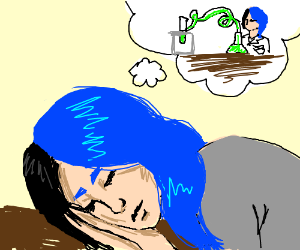 girl with half blue hair dreams of being chemi