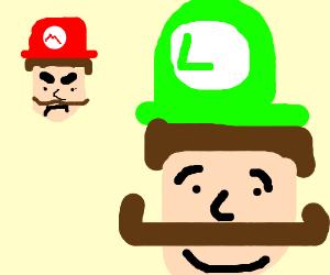 Mario is mad cus luigi has handlebar mustache