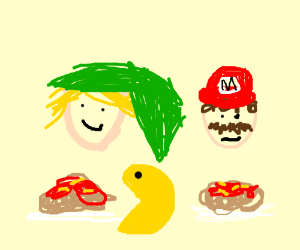 Video game characters prepare for pasta.