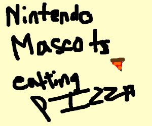 Nintendo mascots eating pizza