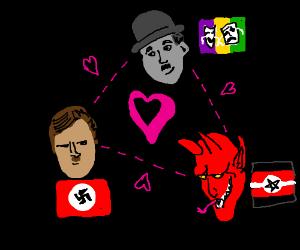 Hitler (Charlie Chaplin?) & the devil in love.