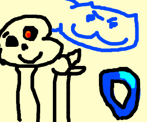 Skeleton and blue cat attack Drawception