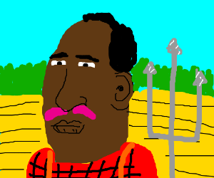 Black man with pink mustace in field
