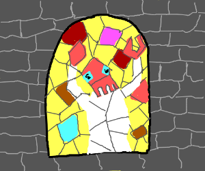 Zoidberg stained glass window at church