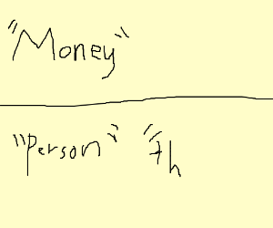 money above person and things