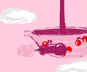 Fruity battleship shoots cotton candy bombs!