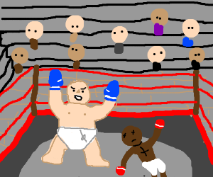 The Big Baby wins a boxing match!