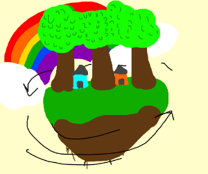 Spinning rainbow treetown
