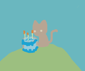 Cat celebrating with a cake on the hill.