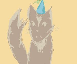 Kitten with a Birthday Hat