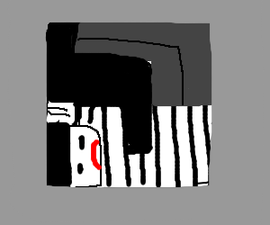 Man squeezed into a box
