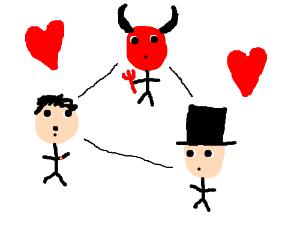 hitler/satan/tophatguy love triangle