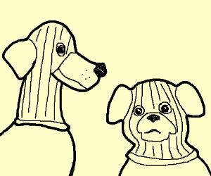 Even dogs wear masks.