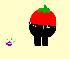 happy tomato with pants and purple poop by him