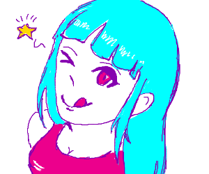 Anime girl winks because a star is in her eye
