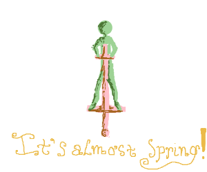 Guy on a pogo stick is excited about Spring