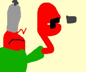 Military Krabs fires a pistol