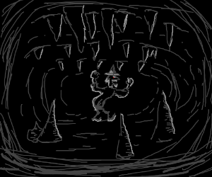 Evil wizard laughs in a dark cave